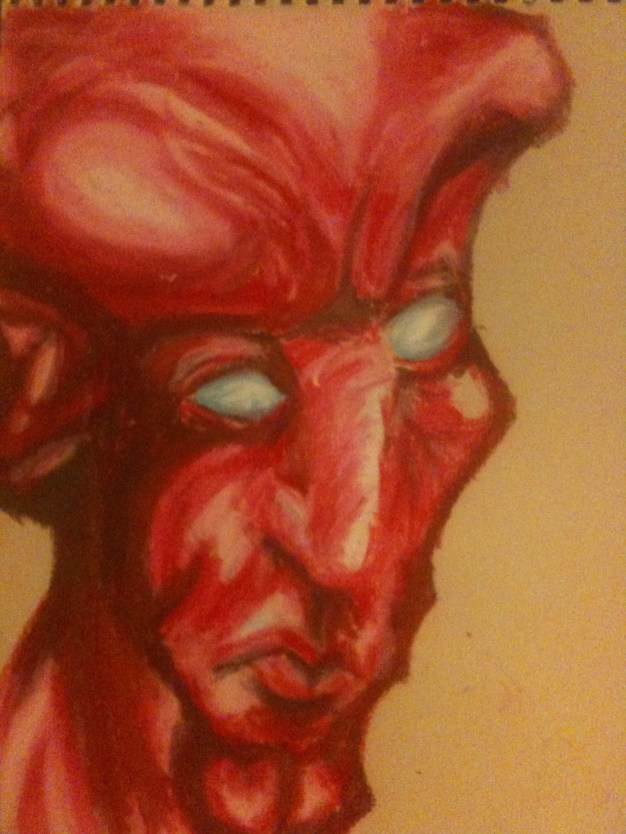 Devil Portrait- Portrait Study- pastel on thick paper
